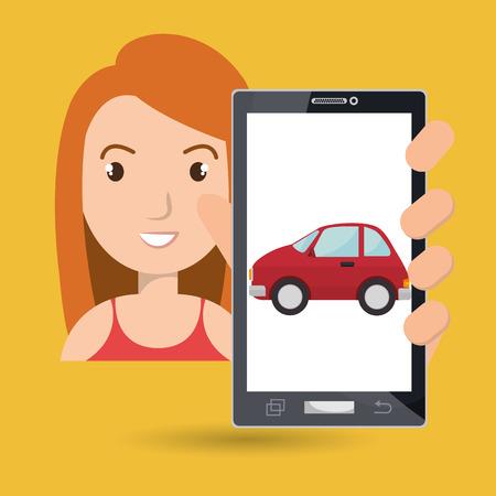 woman smartphone: woman smartphone car web vector illustration design Illustration