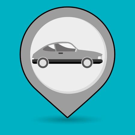 purple car: car pin location icon vector illustration design