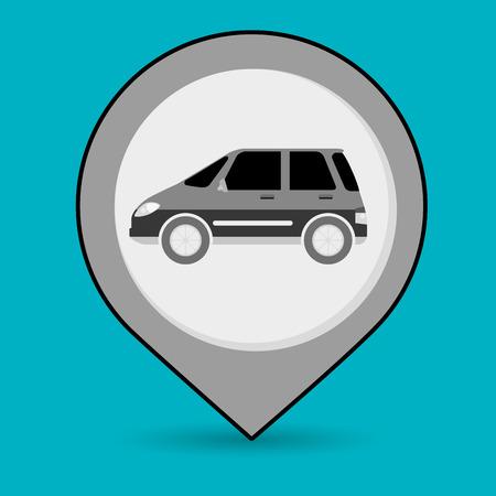 road position: car pin location icon vector illustration design