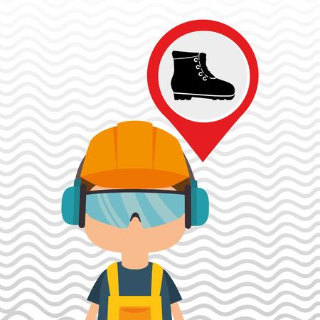environmental contamination: worker protection power plant vector illustration design