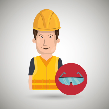 industrial worker: man worker protection tools icon vector illustration design