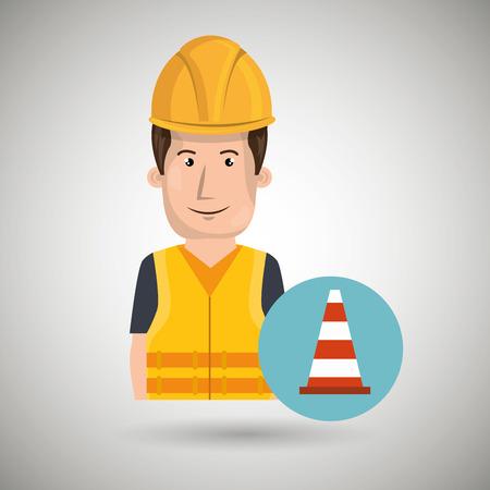 Mann Arbeitnehmerschutz-Tools-Symbol Vektor-Illustration, Design,