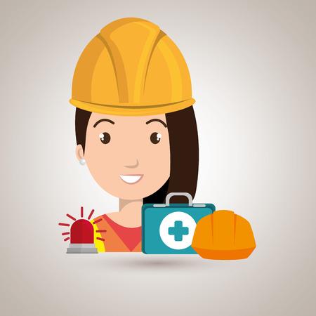 Kit trabajador icono del casco ayuda ilustración vectorial de diseño Foto de archivo - 61690714