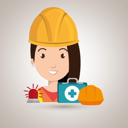 worker kit aid helmet icon vector illustration design