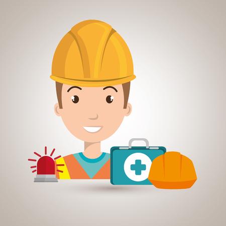radiation suit: worker kit aid helmet icon vector illustration design