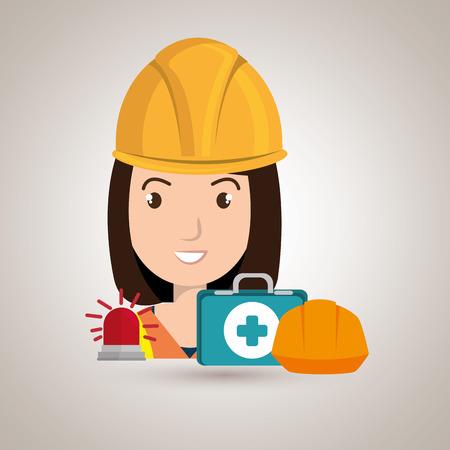 Kit trabajador icono del casco ayuda ilustración vectorial de diseño Foto de archivo - 61690717