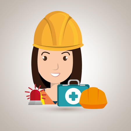 medical gloves: worker kit aid helmet icon vector illustration design