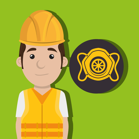 dangerous work: worker protection power plant vector illustration design