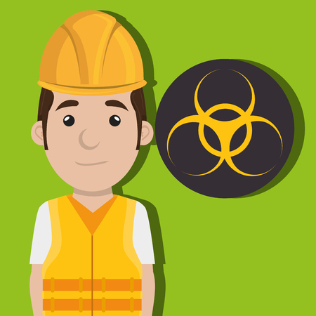 exhalation: worker protection power plant vector illustration design