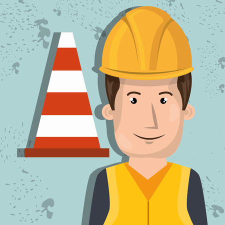 warning vest: man worker protection tools icon vector illustration design