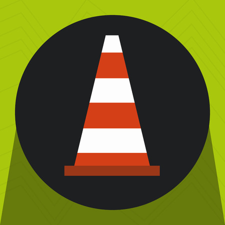 warning cone protection icon vector illustration design