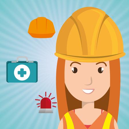 worker kit aid helmet icon vector illustration design