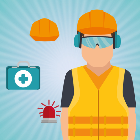radiation protection suit: worker kit aid helmet icon vector illustration design