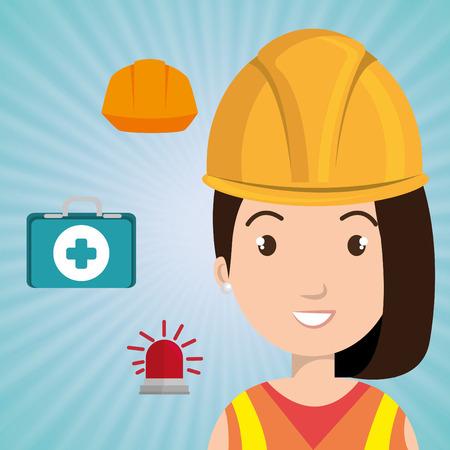Kit trabajador icono del casco ayuda ilustración vectorial de diseño Foto de archivo - 61691983