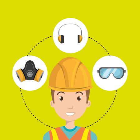 équipement de travail de conception outil de protection illustration vectorielle
