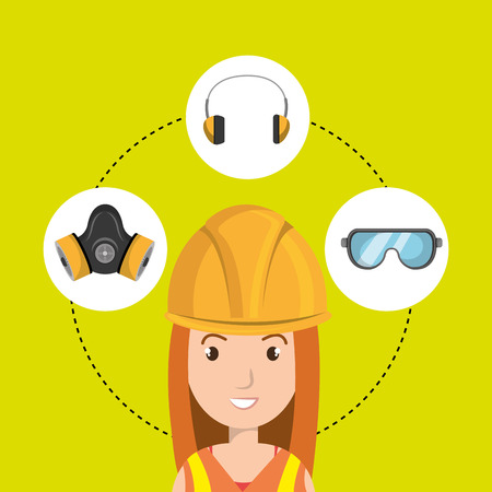 industrial safety: worker equipment protection tool vector illustration design