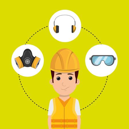 warning vest: worker equipment protection tool vector illustration design