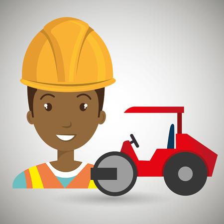worker steamroller construction Illustration