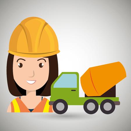 scaffold: worker mixer cement machinery vector illustration design