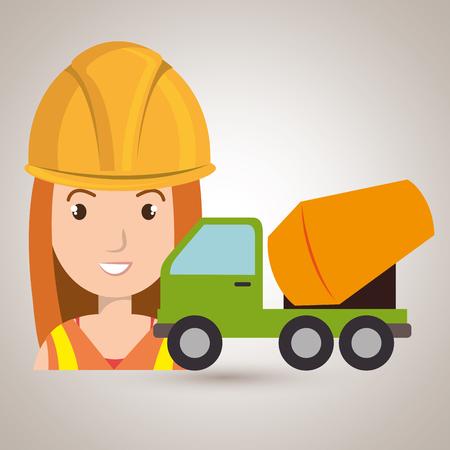 worker mixer cement machinery vector illustration design