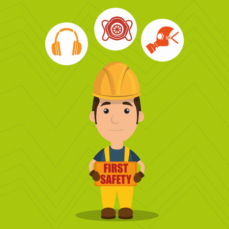 gas mask warning sign: first safety worker icon vector illustration design