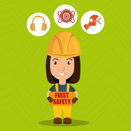 erste Sicherheits Arbeiter Design-Ikone Vektor-Illustration