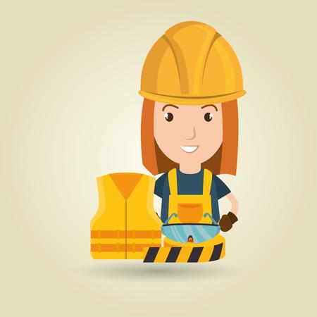worker vest glasses tape vector illustration design