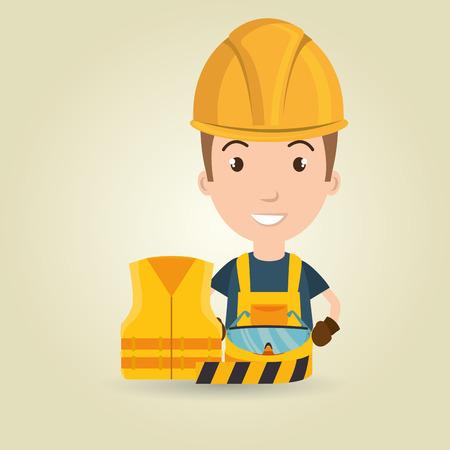 vasos chaleco trabajador con cinta adhesiva ilustración vectorial de diseño