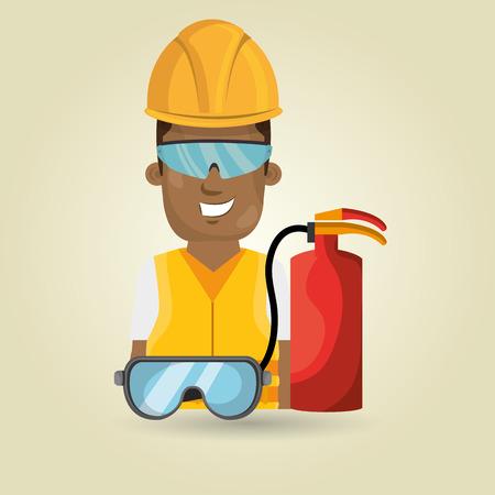 ear protection: worker fire extinguisher glasses vector illustration design