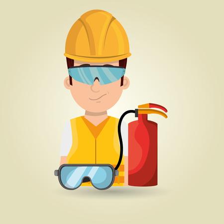 gas mask warning sign: worker fire extinguisher glasses vector illustration design