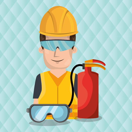 dangerous construction: worker fire extinguisher glasses vector illustration design