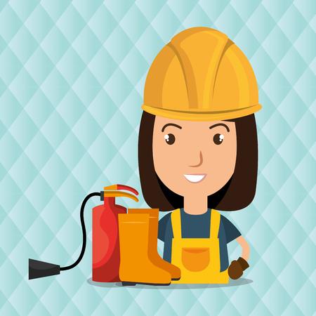 dangerous woman: worker fire extinguisher boots vector illustration design