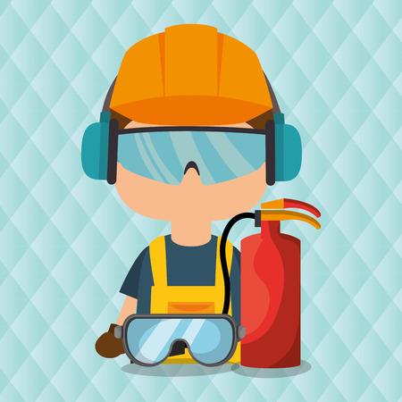 worker fire extinguisher glasses vector illustration design