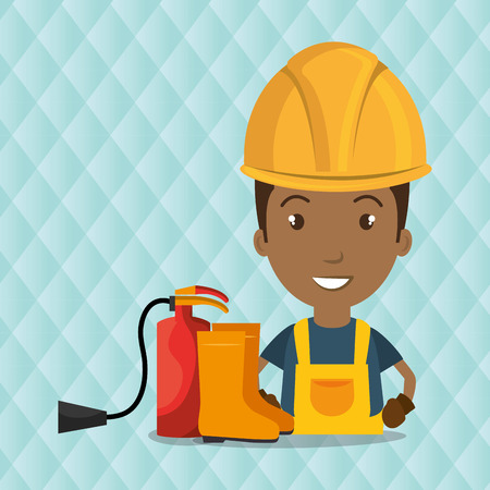 dangerous construction: worker fire extinguisher boots vector illustration design