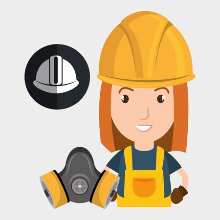 toughness: worker helmet mask gas vector illustration design