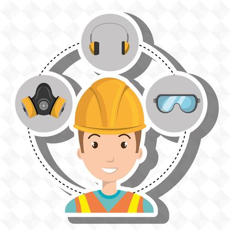 worker equipment protection tool vector illustration design