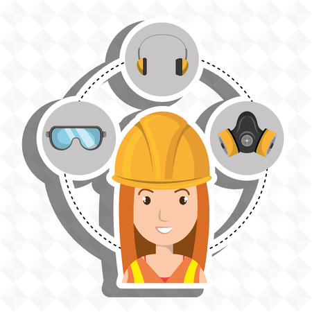 wear mask: worker equipment protection tool vector illustration design