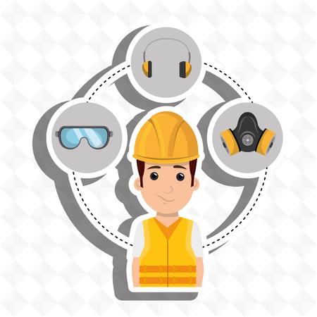 Equipos trabajador herramienta de protección de la ilustración vectorial de diseño Foto de archivo - 61692679