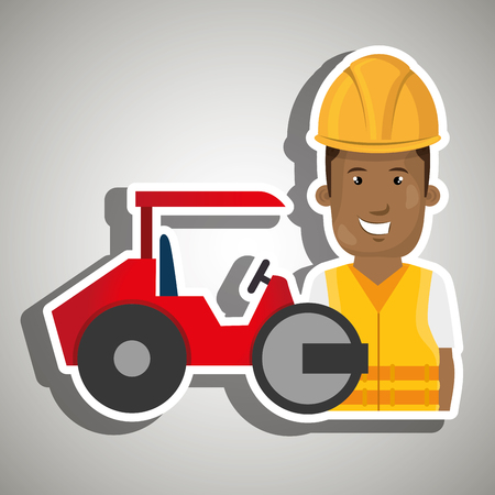 compactor: worker steamroller construction Illustration