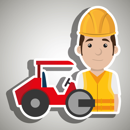 steamroller: worker steamroller construction Illustration