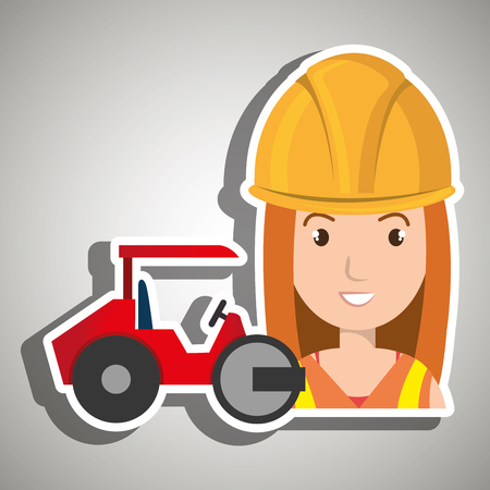 worker steamroller construction Illustration