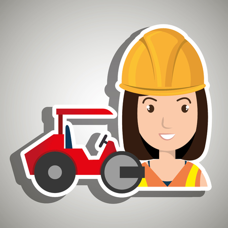 road paving: worker steamroller construction Illustration