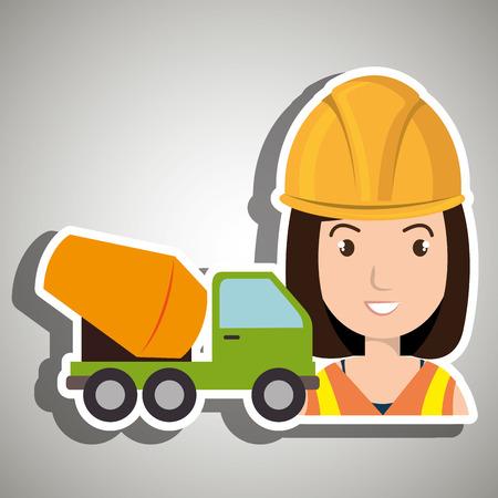 machinery: worker mixer cement machinery