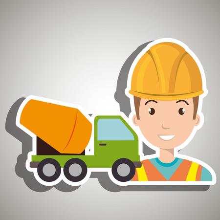 scaffold: worker mixer cement machinery
