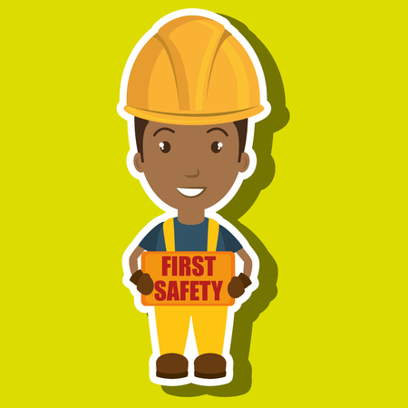 construction safety: first safety worker icon vector illustration design