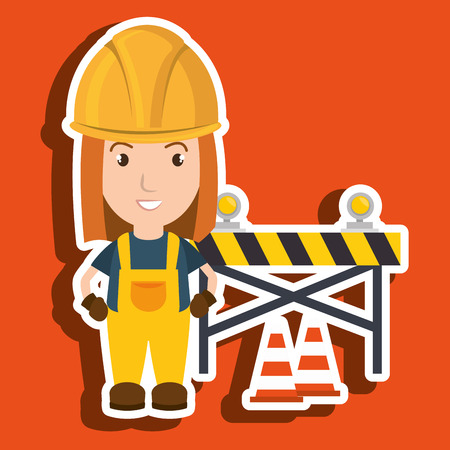 dangerous work: worker warning security tool vector illustration design Illustration