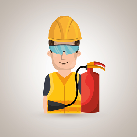 worker fire extinguisher glasses vector illustration design