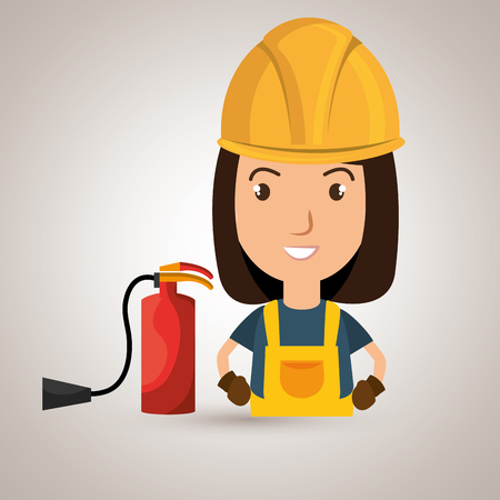 ear protection: worker fire extinguisher boots vector illustration design