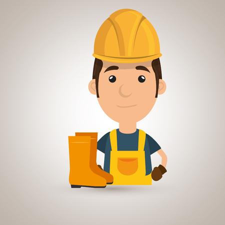 worker fire extinguisher boots vector illustration design