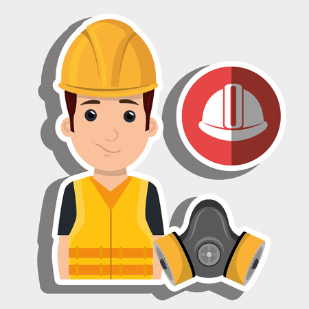 worker helmet mask gas vector illustration design